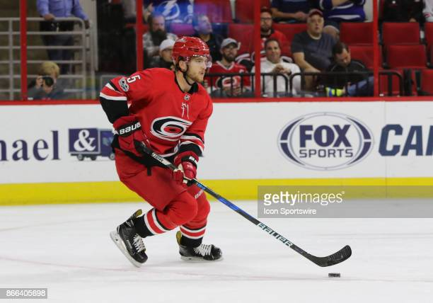 Carolina Hurricanes Defenseman Noah Hanifin during the 1st period of the Carolina Hurricanes game versus the Tampa Bay Lightning on October 24 at PNC...