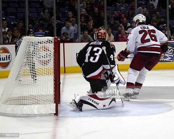 Carolina Hurricanes' Erik Cole scores during the first of his 2 penalty shot against the Buffalo Sabres at the HSBC Arena in Buffalo, NY, November...
