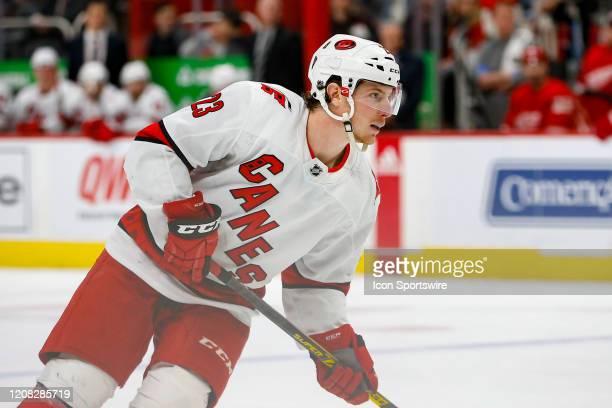 Carolina Hurricanes forward Brock McGinn looks on during a regular season NHL hockey game between the Carolina Hurricanes and the Detroit Red Wings...