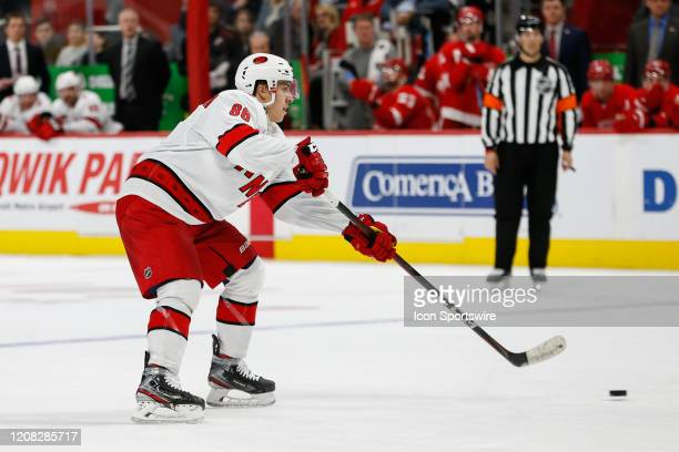 Carolina Hurricanes forward Teuvo Teravainen of Finland skates with the puck during a regular season NHL hockey game between the Carolina Hurricanes...