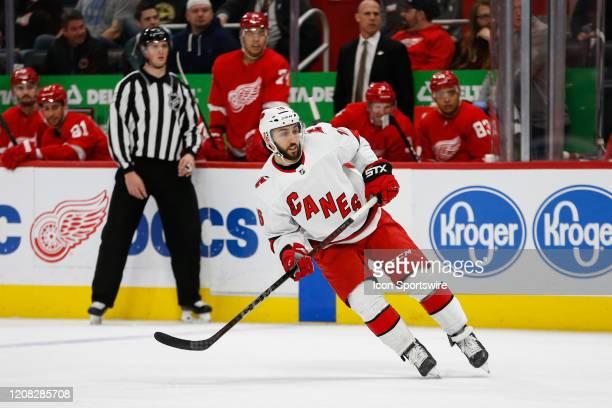 Carolina Hurricanes forward Vincent Trocheck skates during a regular season NHL hockey game between the Carolina Hurricanes and the Detroit Red Wings...