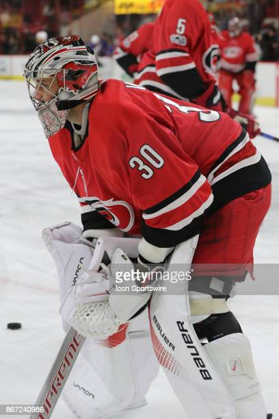Carolina Hurricanes Goalie Cam Ward during warmups period of the Carolina Hurricanes game versus the St Louis Blues on October 27 at PNC Arena in...