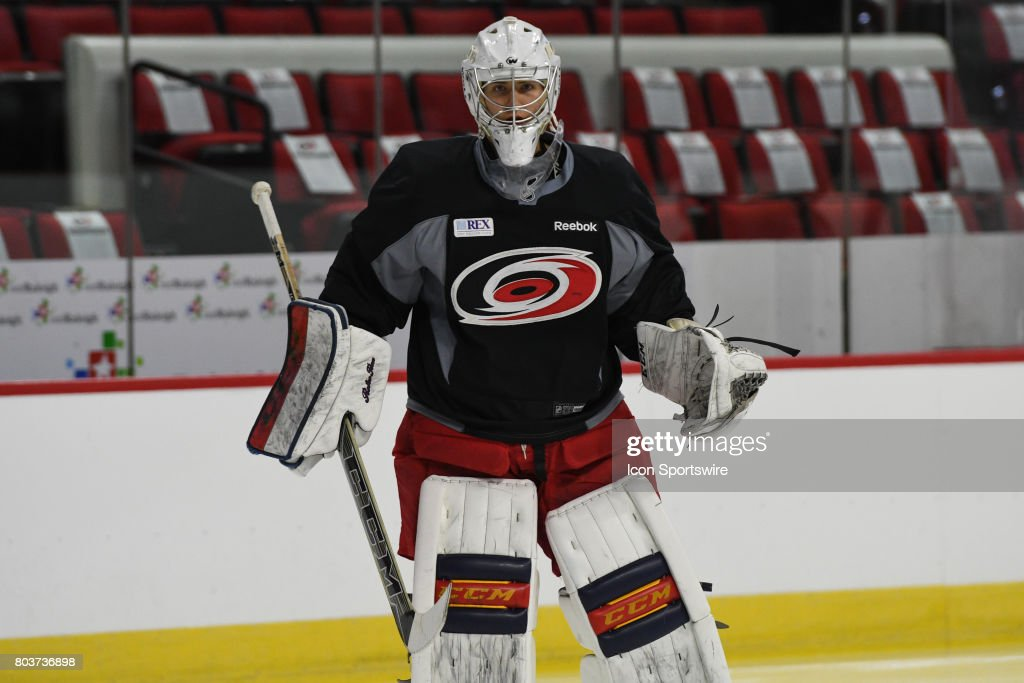 Carolina Hurricanes Goalie Eetu Makiniemi (60) skates during the Carolina Hurricanes Development Camp on June 28, 2017 at the PNC Arena in Raleigh, NC.