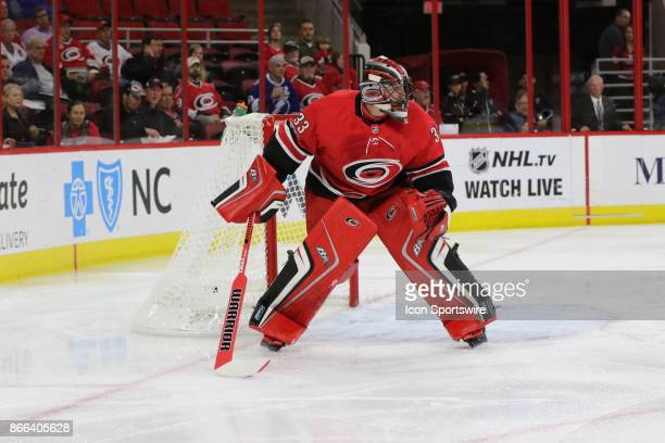 Carolina Hurricanes Goalie Scott Darling during the 1st period of the Carolina Hurricanes game versus the Tampa Bay Lightning on October 24 at PNC...