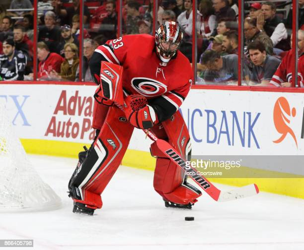 Carolina Hurricanes Goalie Scott Darling during the 2nd period of the Carolina Hurricanes game versus the Tampa Bay Lightning on October 24 at PNC...