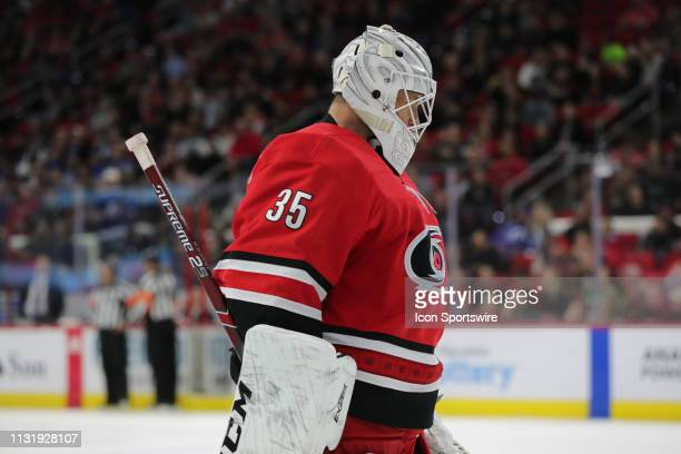 Carolina Hurricanes goaltender Curtis McElhinney during the 2nd period of the Carolina Hurricanes game versus the Tampa Bay Lightning on March 21st...