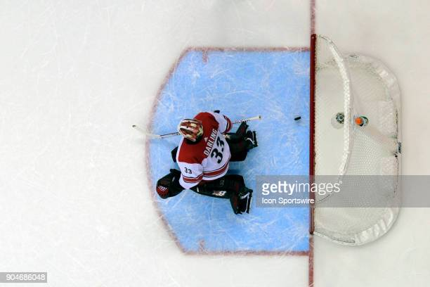 Carolina Hurricanes goaltender Scott Darling gives up a goal against the Washington Capitals on January 11 at the Capital One Arena in Washington DC...