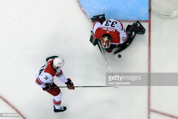 Carolina Hurricanes goaltender Scott Darling makes a save against the Washington Capitals on January 11 at the Capital One Arena in Washington DC The...