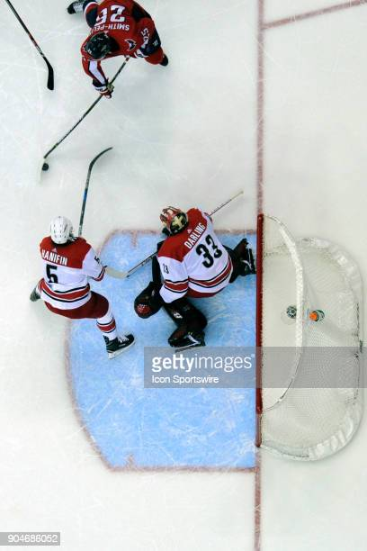 Carolina Hurricanes goaltender Scott Darling makes a save on shot by Washington Capitals right wing Devante SmithPelly on January 11 at the Capital...