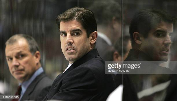 Carolina Hurricanes' head coach Peter Laviolette, right, and assistant coach Kevin McCarthy during the second period against the New Jersey Devils in...