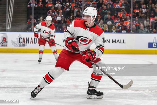 Carolina Hurricanes Left Wing Andrei Svechnikov keeps an eye on the play in the first period during the Edmonton Oilers game versus the Carolina...