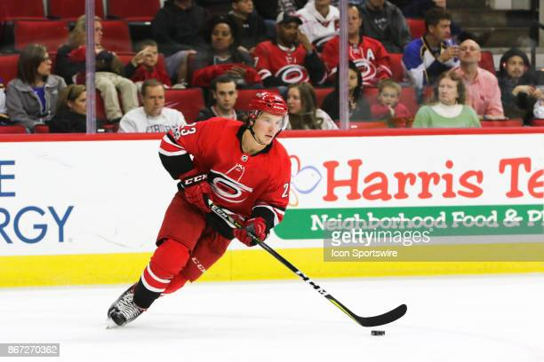 Carolina Hurricanes Left Wing Brock McGinn during the 2nd period of the Carolina Hurricanes game versus the St Louis Blues on October 27 at PNC Arena...