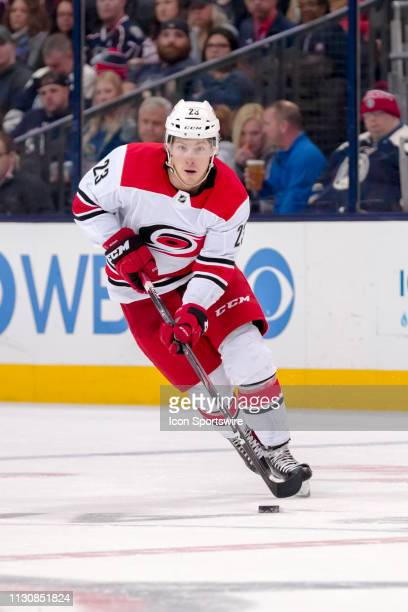 Carolina Hurricanes left wing Brock McGinn sprints up the ice in a game between the Columbus Blue Jackets and the Carolina Hurricanes on March 15...
