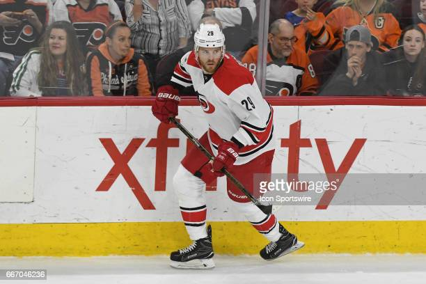 Carolina Hurricanes Left Wing Bryan Bickell passes the puck during a National Hockey League game between the Carolina Hurricanes and the Philadelphia...