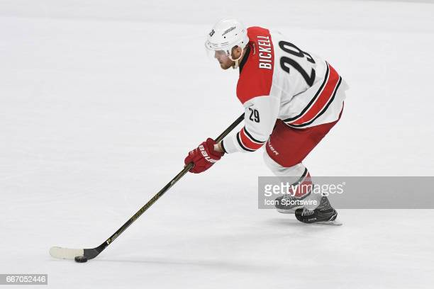 Carolina Hurricanes Left Wing Bryan Bickell scores a shootout goal during a National Hockey League game between the Carolina Hurricanes and the...