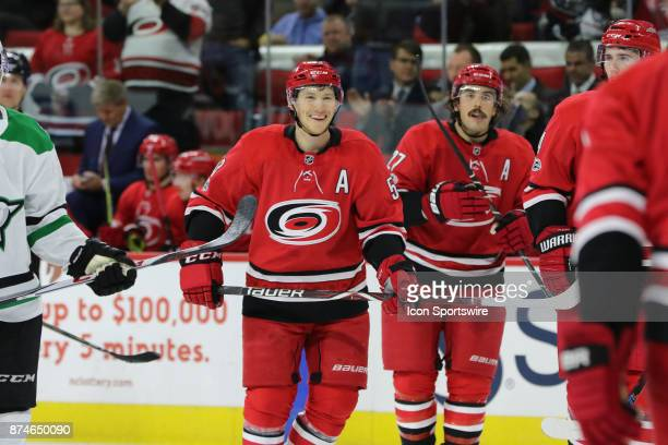 Carolina Hurricanes Left Wing Jeff Skinner al smiles during the 3rd period of the Carolina Hurricanes versus the Dallas Stars on November 13 at PNC...