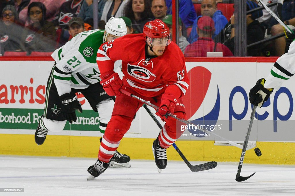 Carolina Hurricanes Left Wing Jeff Skinner (53) brings the puck up ice in a game between the Dallas Stars and the Carolina Hurricanes on April 1, 2017 at the PNC Arena in Raleigh, NC.