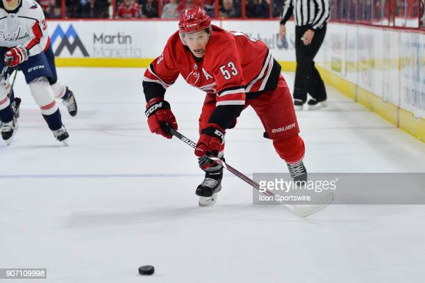 Carolina Hurricanes Left Wing Jeff Skinner chases after a puck during a game between the Washington Capitals and the Carolina Hurricanes at the PNC...