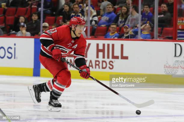 Carolina Hurricanes Left Wing Jeff Skinner during the Carolina Hurricanes game versus the St Louis Blues on October 27 at PNC Arena in Raleigh NC