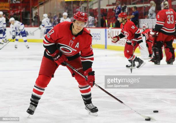 Carolina Hurricanes Left Wing Jeff Skinner during warmups of the Carolina Hurricanes game versus the Tampa Bay Lightning on October 24 at PNC Arena...