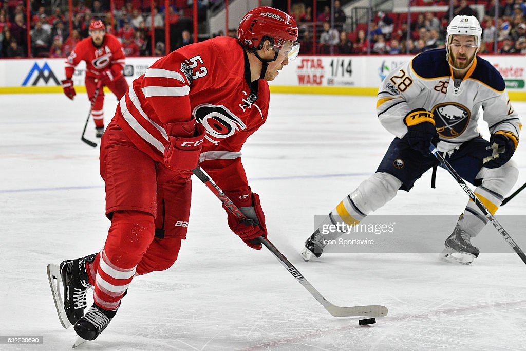 Carolina Hurricanes Left Wing Jeff Skinner (53) skates with the puck in a regular season NHL game between the Buffalo Sabres and the Carolina Hurricanes on January 13, 2017 at the PNC Arena in Raleigh, NC. Carolina defeated Buffalo 5 - 2.