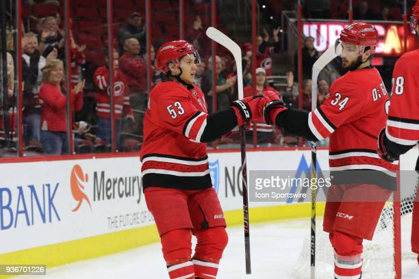 Carolina Hurricanes Left Wing Jeff Skinner with the 1st goal during the 1st period of the Carolina Hurricanes game versus the Arizona Coyotes on...