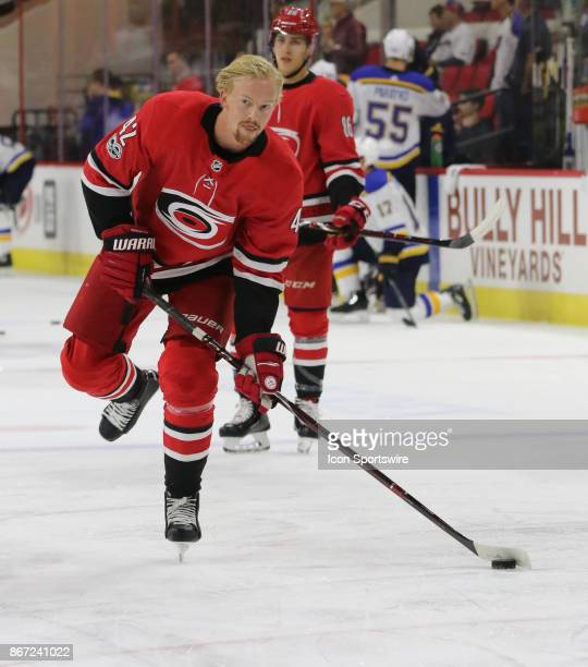 Carolina Hurricanes Left Wing Joakim Nordstrom during warmups period of the Carolina Hurricanes game versus the St Louis Blues on October 27 at PNC...