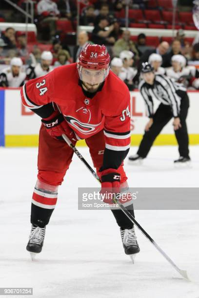 Carolina Hurricanes Left Wing Phillip Di Giuseppe during the 1st period of the Carolina Hurricanes game versus the Arizona Coyotes on March 22 at PNC...