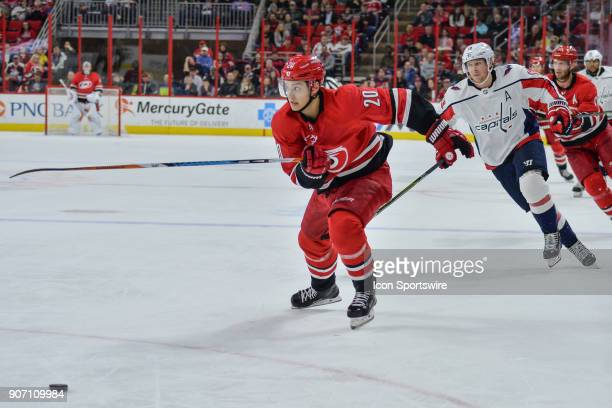 Carolina Hurricanes Left Wing Sebastian Aho chases after a puck during a game between the Washington Capitals and the Carolina Hurricanes at the PNC...