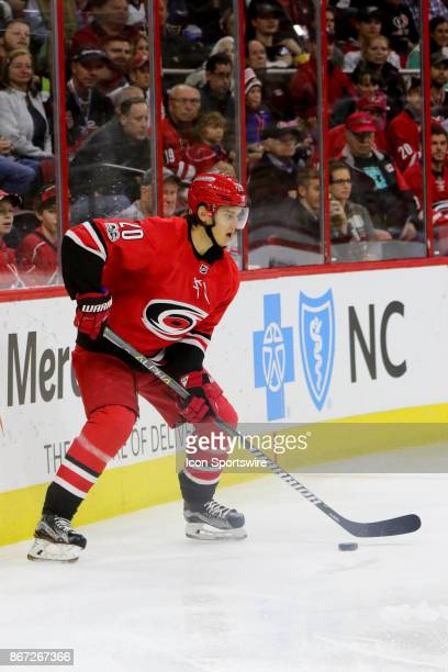 Carolina Hurricanes Left Wing Sebastian Aho during the 1st period of the Carolina Hurricanes game versus the St Louis Blues on October 27 at PNC...