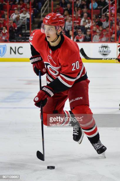 Carolina Hurricanes Left Wing Sebastian Aho skates with the puck during a game between the Washington Capitals and the Carolina Hurricanes at the PNC...