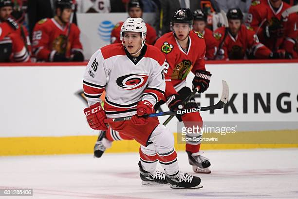 Carolina Hurricanes left wing Teuvo Teravainen in action in front of Chicago Blackhawks left wing Artemi Panarin in the second period during a game...