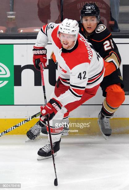 Carolina Hurricanes leftwing Joakim Nordstrom in action during the third period of a game against the Anaheim Ducks on December 11 played at the...