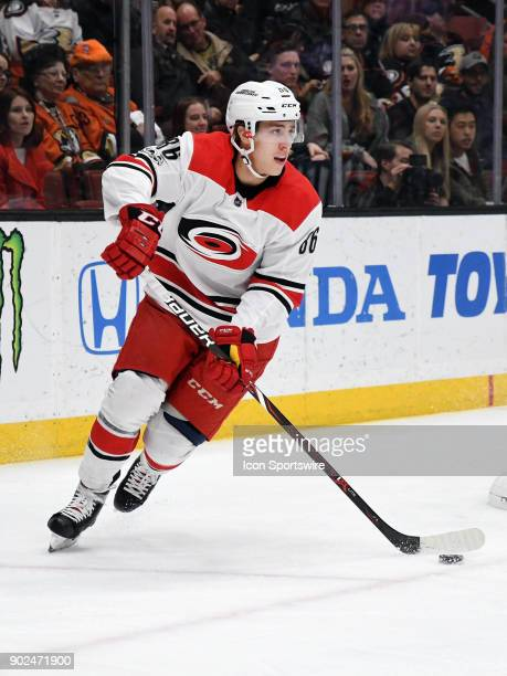 Carolina Hurricanes leftwing Teuvo Teravainen with the puck during the first period of a game against the Anaheim Ducks on December 11 played at the...