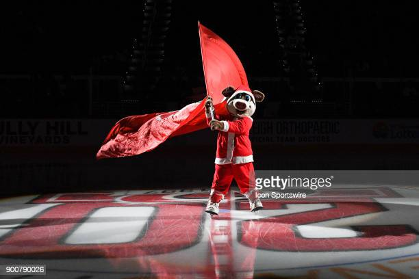 Carolina Hurricanes mascot Stormy performs during a game between the Carolina Hurricanes and the Columbus Blue Jackets at the PNC Arena in Raleigh NC...
