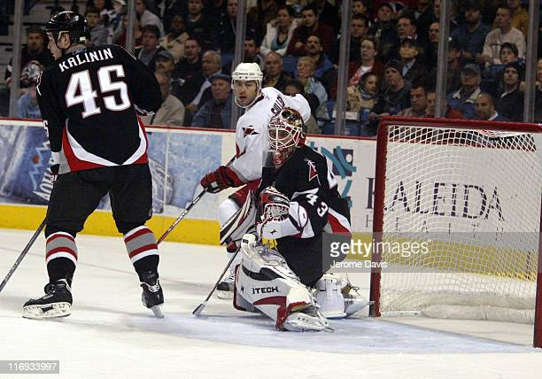 Carolina Hurricanes' Matt Cullen waits for a rebound off of Buffalos' goalie Martin Biron during a game against the Sabres at the HSBC Arena in...