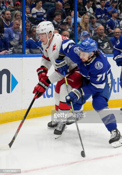 Carolina Hurricanes right wing Andrei Svechnikov and Tampa Bay Lightning center Anthony Cirelli during the NHL Hockey 2nd round Stanley Cup match...