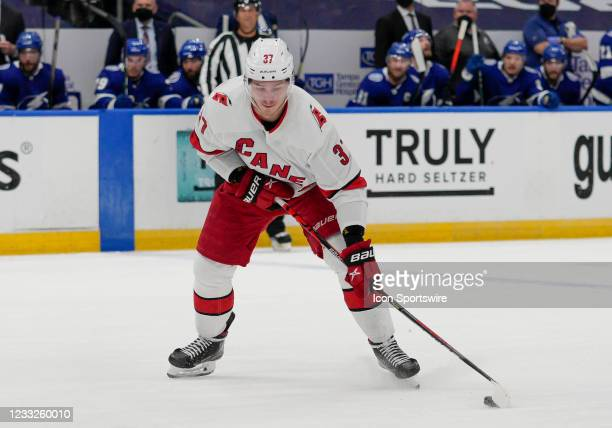 Carolina Hurricanes right wing Andrei Svechnikov looks to shoot the puck during the NHL Hockey 2nd round Stanley Cup match between the Tampa Bay...