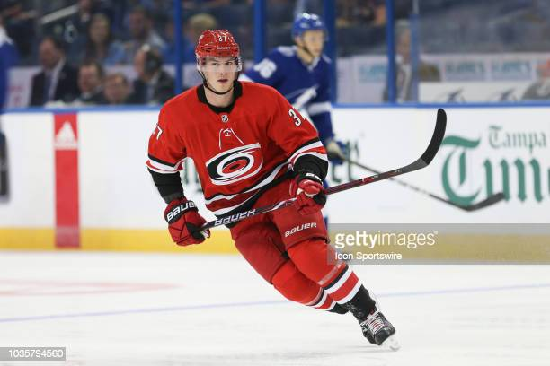 Carolina Hurricanes right wing Andrei Svechnikov skates during the NHL preseason game between the Carolina Hurricanes and Tampa Bay Lightning on...
