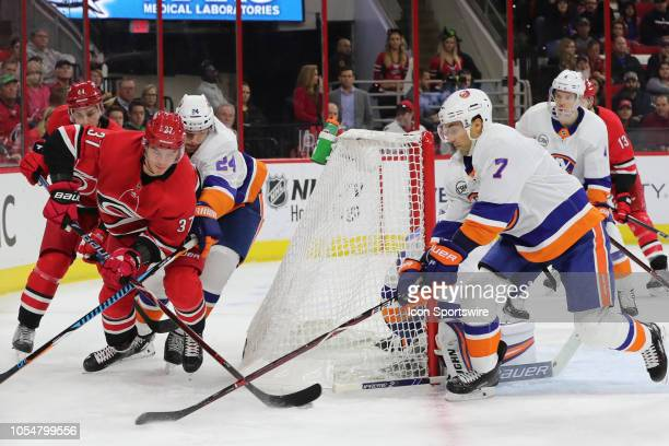 Carolina Hurricanes right wing Andrei Svechnikov tries to put the puck in the net during the 1st period of the Carolina Hurricanes game versus the...