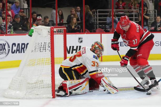 Carolina Hurricanes right wing Andrei Svechnikov tries to score a goal against Calgary Flames goaltender David Rittich during the 3rd period of the...