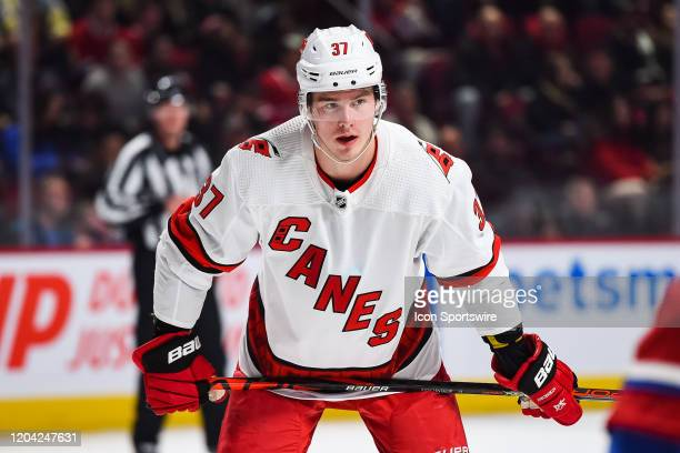 Carolina Hurricanes right wing Andrei Svechnikov waits for a faceoff during the Carolina Hurricanes versus the Montreal Canadiens game on February 29...