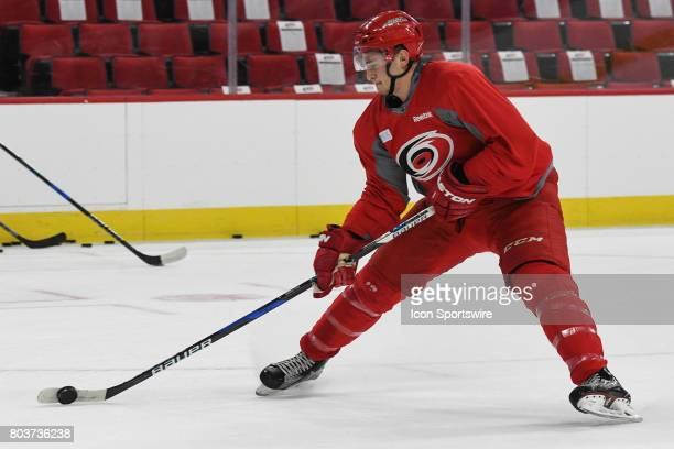 Carolina Hurricanes Right Wing Julien Gauthier controls a puck on edge during the Carolina Hurricanes Development Camp on June 28 2017 at the PNC...