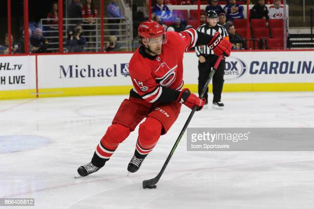 Carolina Hurricanes Right Wing Justin Williams during the 1st period of the Carolina Hurricanes game versus the Tampa Bay Lightning on October 24 at...
