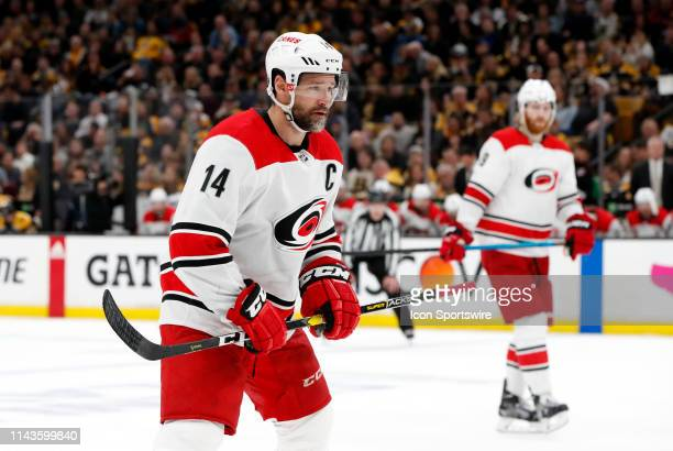 Carolina Hurricanes right wing Justin Williams moves in for the draw during Game 2 of the Stanley Cup Playoffs Eastern Conference Finals between the...