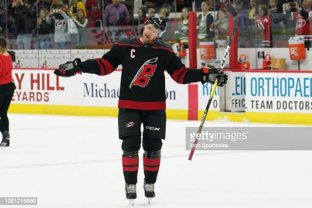 Carolina Hurricanes Right Wing Justin Williams performs during the Storm Surge during a game between the Carolina Hurricanes and the Buffalo Sabres...