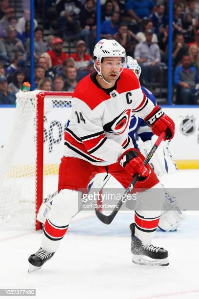 Carolina Hurricanes right wing Justin Williams skates during the regular season NHL game between the Carolina Hurricanes and Tampa Bay Lightning on...