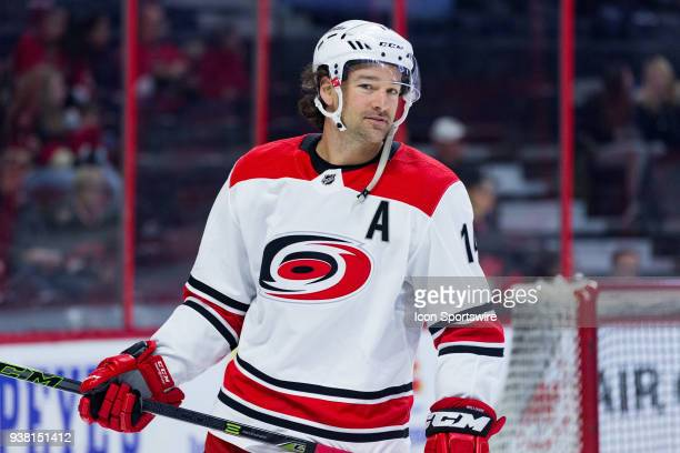 Carolina Hurricanes Right Wing Justin Williams skates during warm-up before National Hockey League action between the Carolina Hurricanes and Ottawa...