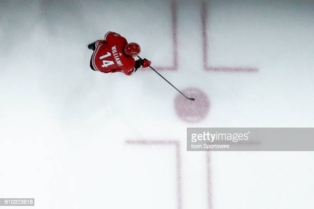 Carolina Hurricanes Right Wing Justin Williams skates over the face off circle during a game between the Vegas Golden Knights and the Carolina...