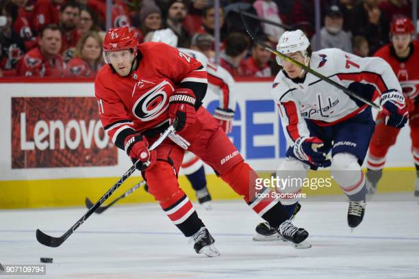 Carolina Hurricanes Right Wing Lee Stempniak shoots the puck during a game between the Washington Capitals and the Carolina Hurricanes at the PNC...